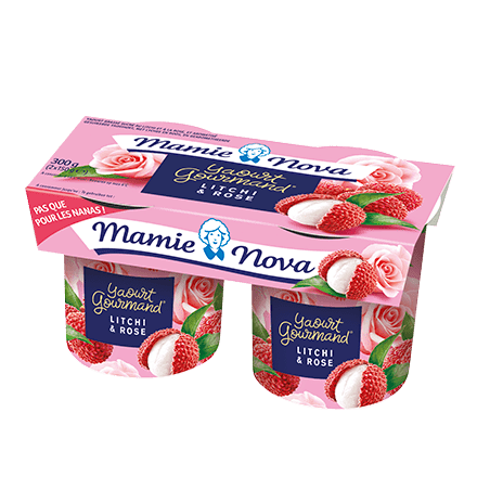 Mamie Nova - Packaging Yaourt Gourmand® aux fruits Litchi & Rose