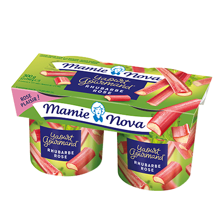 Mamie Nova - Packaging Yaourt Gourmand® aux fruits Rhubarbe Rose