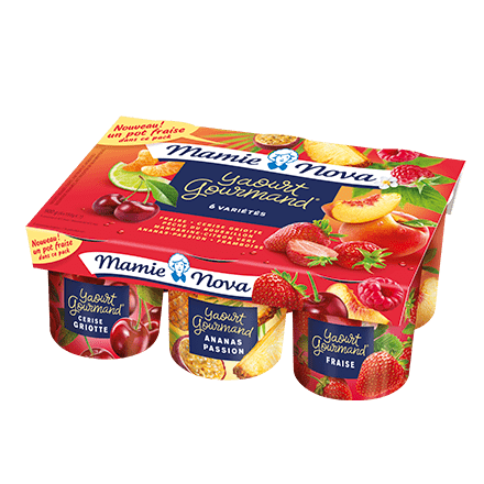 Mamie Nova - Packaging Yaourt Gourmand® aux fruits Panaché x6